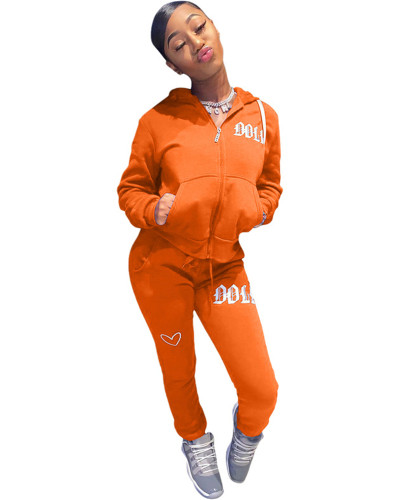 Orange Solid color embroidered letters hooded sports suit