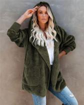 Green Silver Fox Fleece Hooded Cardigan Jacket