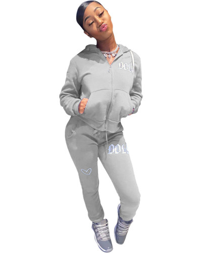 Gray Solid color embroidered letters hooded sports suit