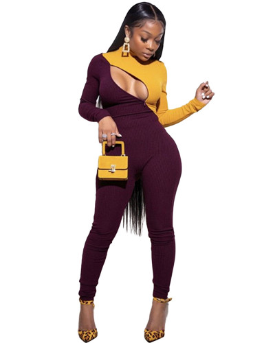 Yellow Sexy zip-up jumpsuit
