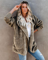 Khaki Silver Fox Fleece Hooded Cardigan Jacket