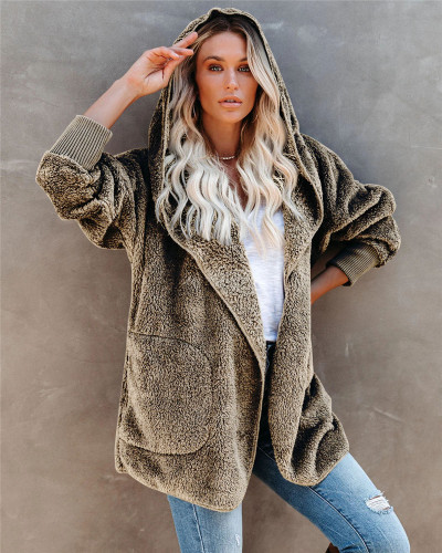 Khaki Silver Fox Fleece Hooded Cardigan Jacket