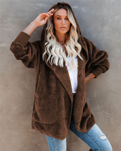 Brown Silver Fox Fleece Hooded Cardigan Jacket