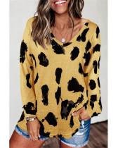 Yellow Loose long sleeve printed T-shirt top