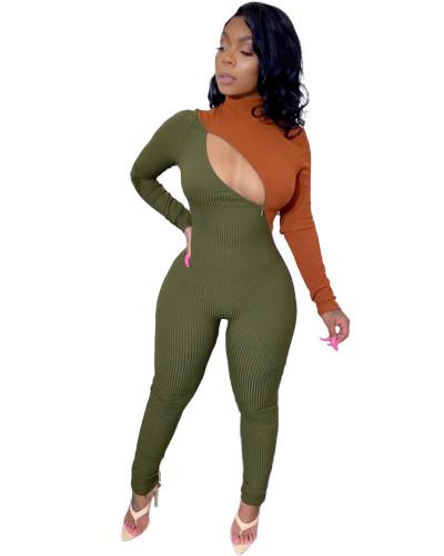 Green Sexy zip-up jumpsuit
