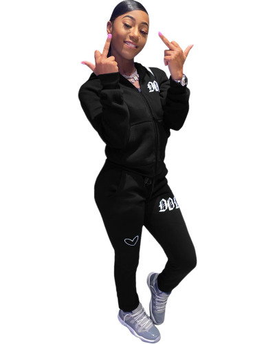 Black Solid color embroidered letters hooded sports suit