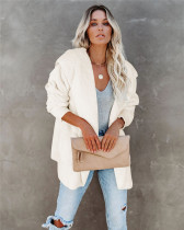 White Silver Fox Fleece Hooded Cardigan Jacket