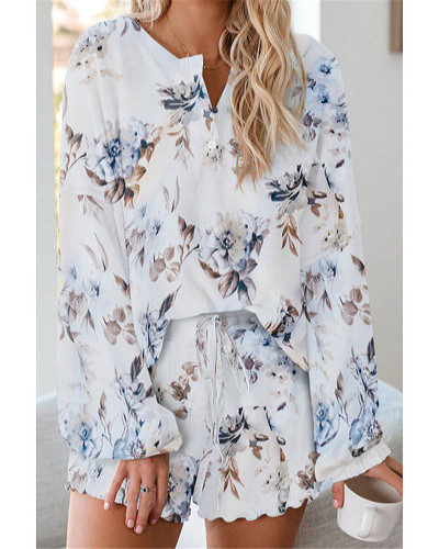 WhiteTie-dye printed casual long-sleeved shorts suit