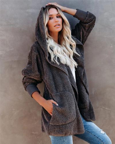 Dark Gray Silver Fox Fleece Hooded Cardigan Jacket