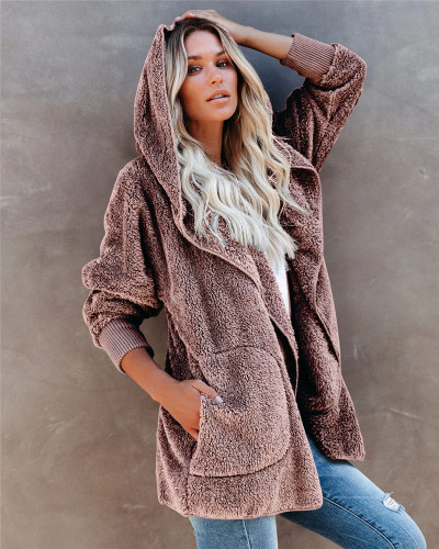 Pink Silver Fox Fleece Hooded Cardigan Jacket