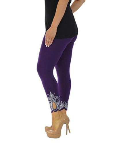 Violet Slim slimming printed cropped trousers leggings bottoms