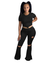 Black Sexy skinny big flared ripped trousers