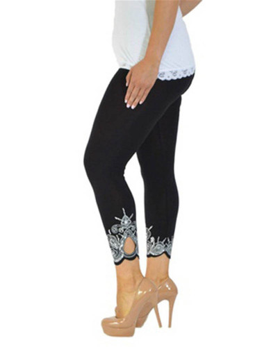 Black Slim slimming printed cropped trousers leggings bottoms