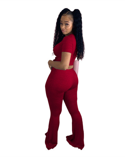 Red Sexy skinny big flared ripped trousers
