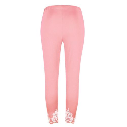 Pink Slim slimming printed cropped trousers leggings bottoms