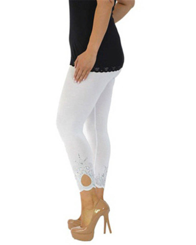 White Slim slimming printed cropped trousers leggings bottoms
