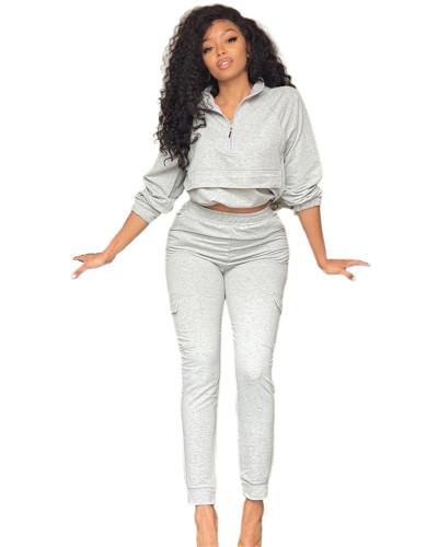 White Fashion casual zipper long sleeve pants suit