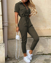 Army green Casual lapel printed belt work overalls