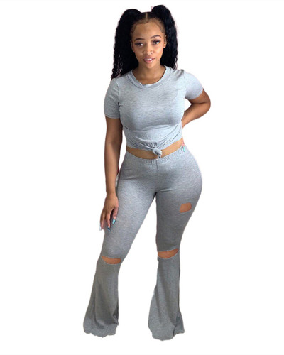 Gray Sexy skinny big flared ripped trousers
