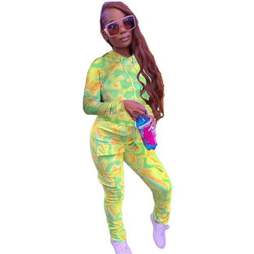 Yellow Cargo pocket pants two-piece sports pants suit