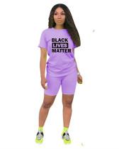 Purple Solid color letter printed pants suit