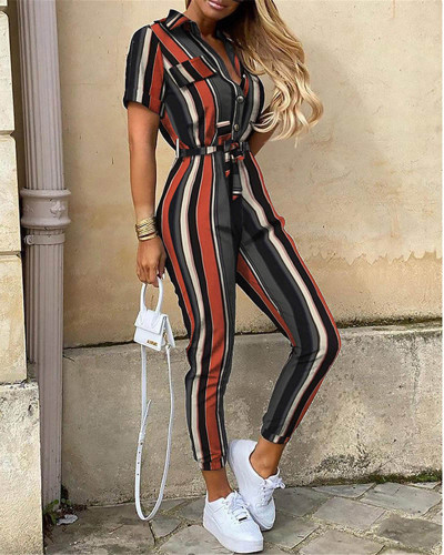 Colorful Casual lapel printed belt work overalls