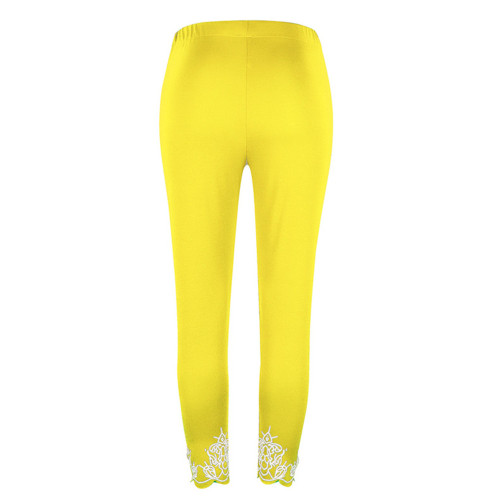 Yellow Slim slimming printed cropped trousers leggings bottoms
