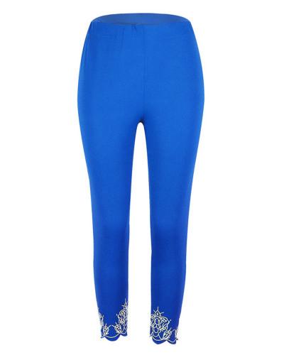Bule Slim slimming printed cropped trousers leggings bottoms