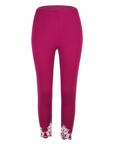 Slim slimming printed cropped trousers leggings bottoms