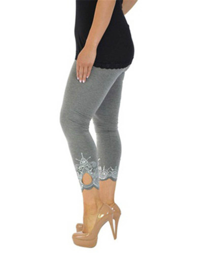 Gray Slim slimming printed cropped trousers leggings bottoms