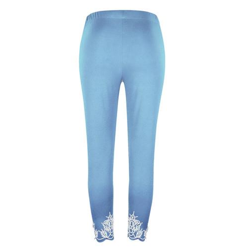 Sky bule Slim slimming printed cropped trousers leggings bottoms
