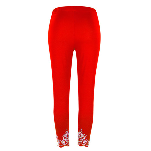 Red Slim slimming printed cropped trousers leggings bottoms
