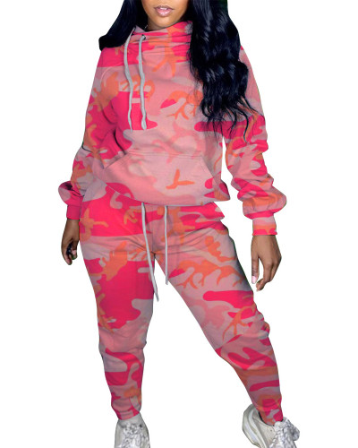 Pink Two-piece printed camouflage sweater