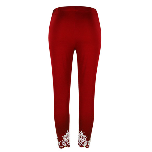 Claret Slim slimming printed cropped trousers leggings bottoms