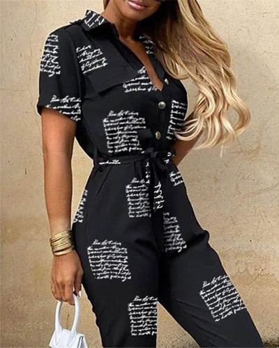 Casual lapel printed belt work overalls