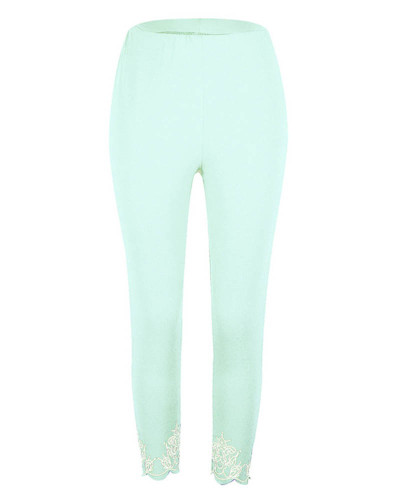 Light greenSlim slimming printed cropped trousers leggings bottoms