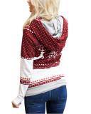 Calret Christmas zipper print pocket hooded finger sweatshirt