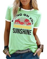 Green Ladies short sleeve round neck print T-shirt