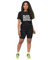 Black Solid color letter printed pants suit