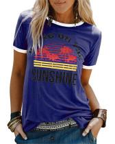 Bule Ladies short sleeve round neck print T-shirt