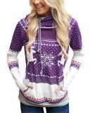 Violet Christmas zipper print pocket hooded finger sweatshirt