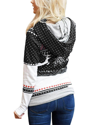 Black Christmas zipper print pocket hooded finger sweatshirt