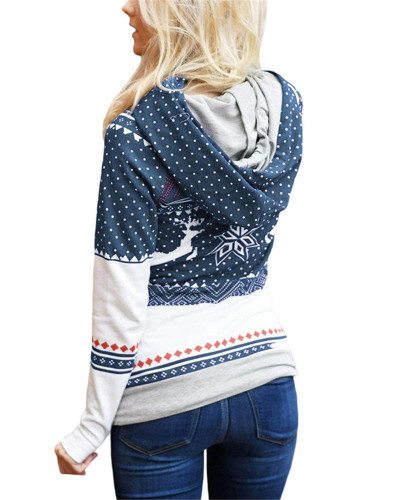 Dark bule Christmas zipper print pocket hooded finger sweatshirt
