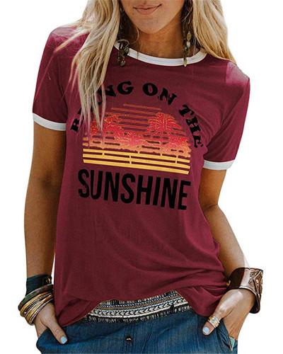 Claret Ladies short sleeve round neck print T-shirt