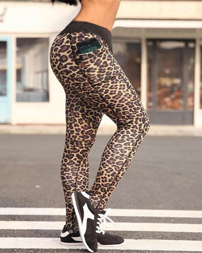 Hips leopard print yoga pants pencil pants leggings
