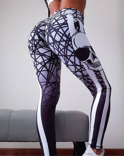 White Slim hip print yoga pants leggings pencil pants