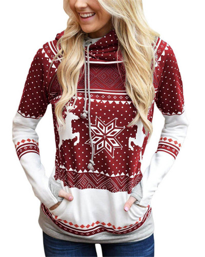 Calret Christmas zipper print pocket hooded finger sweatshirt