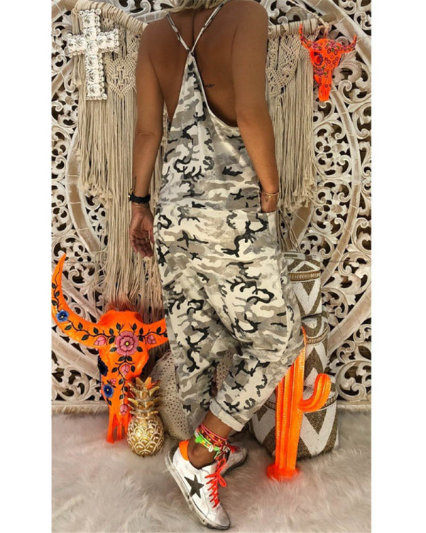 White Women's new sling camouflage jumpsuit
