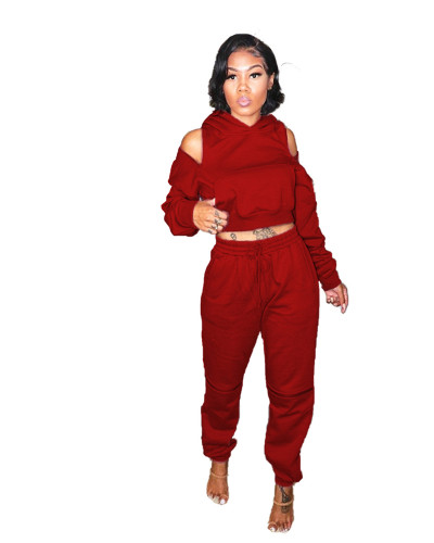 Red Two-piece sexy zipper hooded sweater
