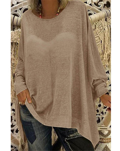 Khaki Women's solid color loose round neck long sleeve top T-shirt